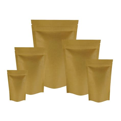 Paperbag Medium Size 26x10x32 150g kraft paper stand up pouch bag with zip lock sp3