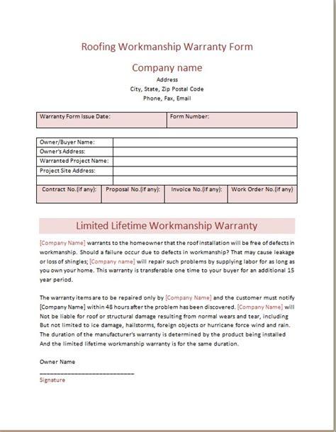 Roofing Workmanship Warranty Form Microsoft Word Excel Templates Roofing Workmanship Warranty Template