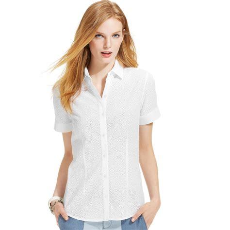 Macy S White Button Blouse by Lyst Hilfiger Shortsleeve Eyelet Buttondown Shirt
