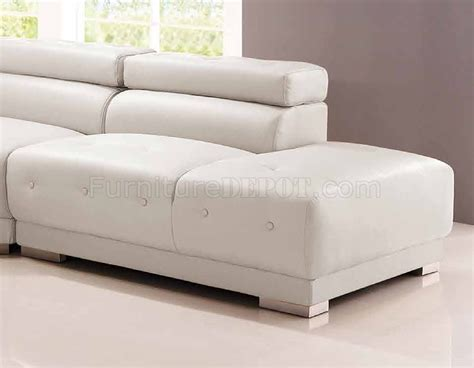 8097 Sectional Sofa In White Bonded Leather White Bonded Leather Sectional Sofa