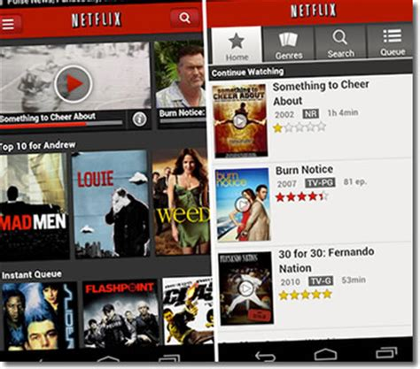 netflix app for android netflix android mobile phone tv app gets makeover