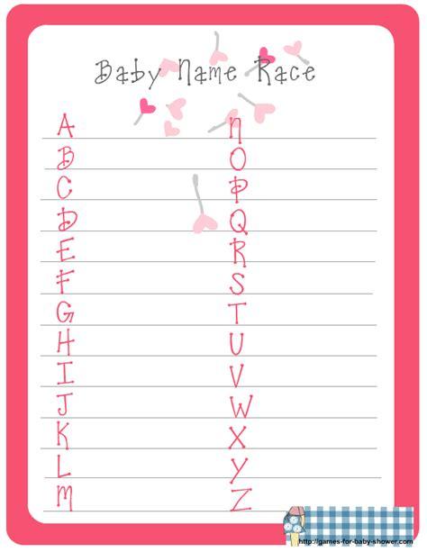 Baby Shower Name Game Printable | free printable baby name race game for baby shower