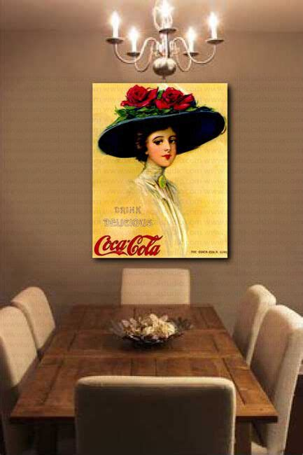 vintage coca cola girl advertisement wall decor canvas art