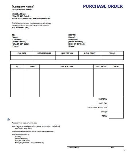 Purchase Order Template For Word 37 free purchase order templates in word excel
