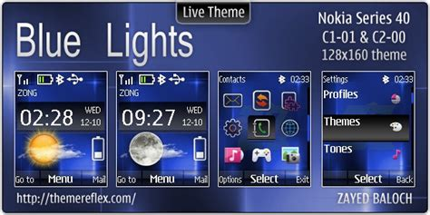 themes download c1 blue lights live theme for nokia c1 01 c2 00 updated