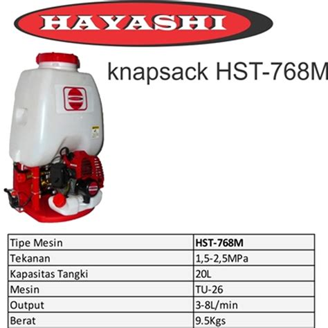Harga Alat Semprot Air Tanaman harga jual hayashi hst 768m alat semprot hama 20 liter