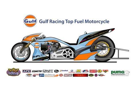 gulf racing motorcycle gulf racing top fuel drag bike previewed autoevolution