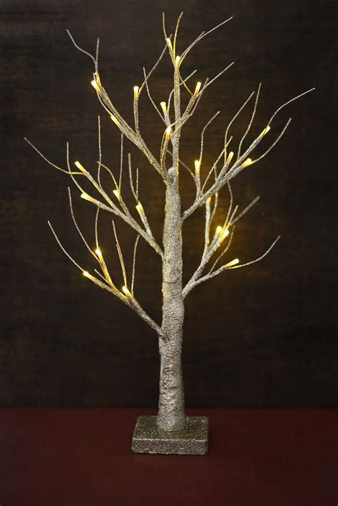 Gold Glitter Wedding Tree With Lights 24in Battery Op Lights Trees