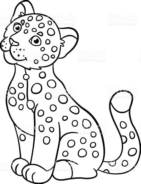 coloring pages baby jaguar coloring pages little cute baby jaguar smiles stock vector