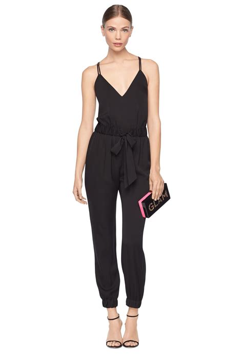 Jumpsuit Helena milly stretch silk helena jumpsuit in black lyst