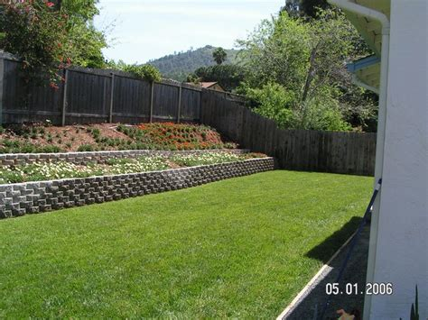 how to make a sloped backyard flat retaining wall slope down to flat backyard backyard