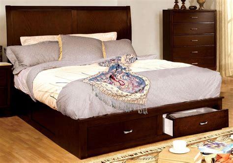 enrico  brown cherry cal king platform storage bed