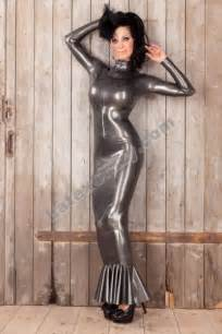 latex hobble dress extra long and tight with contrast color
