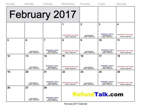 February 2017 Tax Refund Update Calendar ⋆ RefundTalk.com Irs Tax Refund Schedule For 2017