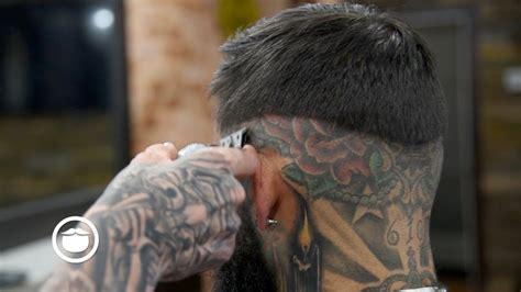 sick tattoos dope fade with sick tattoos sharp beard trim