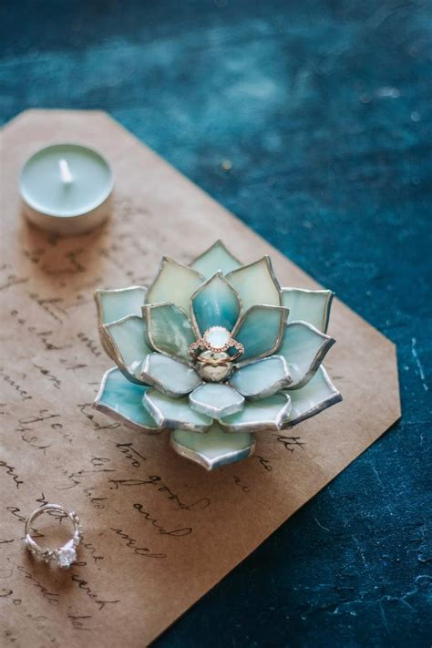 stained glass succulent ring dish  weddings