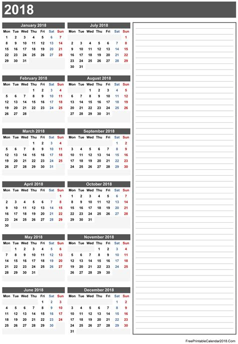 printable calendar notes free printable calendar 2018 with holidays in word excel pdf