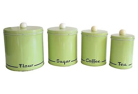 green kitchen canisters mad men era kitchen canister set