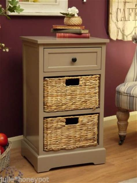 Bedside Tables With Basket Drawers Shabby Chic Vintage Style Bedside Table Wicker Basket Furniture Drawers Storage Drawer Storage