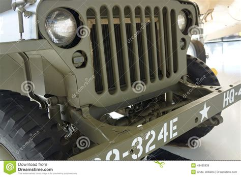 military jeep front vintage us army truck front view editorial photo