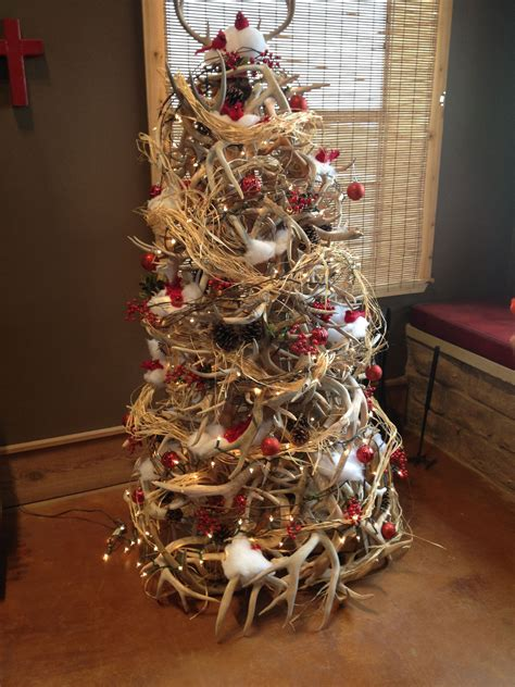 tree made out of deer antlers christmas trees