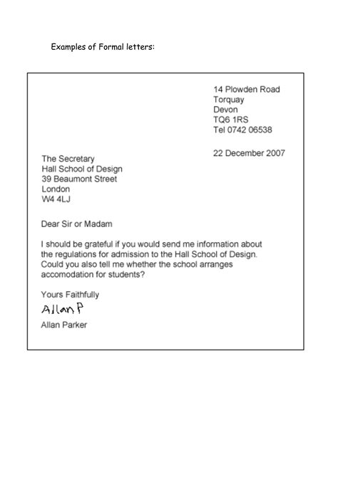 layout of a query letter formal letter exle classroom idea pinterest