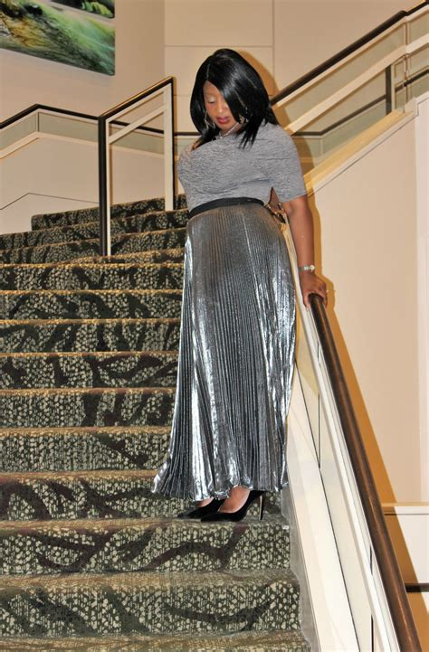 valentines day   metallic pleated maxi skirt