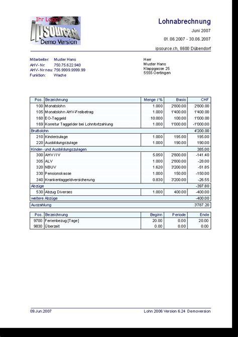 Kostenlose Vorlage Gehaltsabrechnung Lohnabrechnung Lohn 2006 6 0 Kostenlose Die