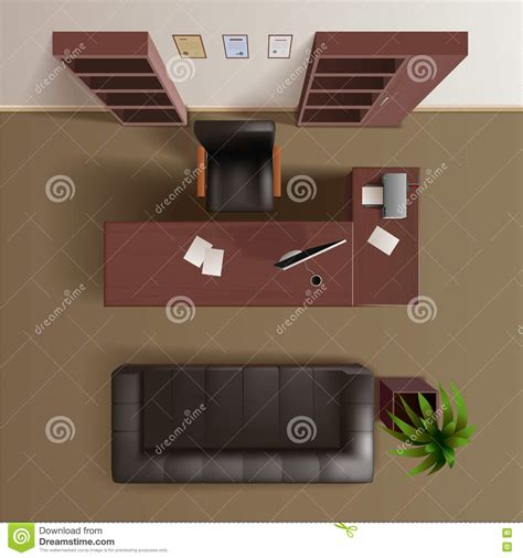 Office Desk Top View Office Work Room Top View Realistic Stock Vector Image