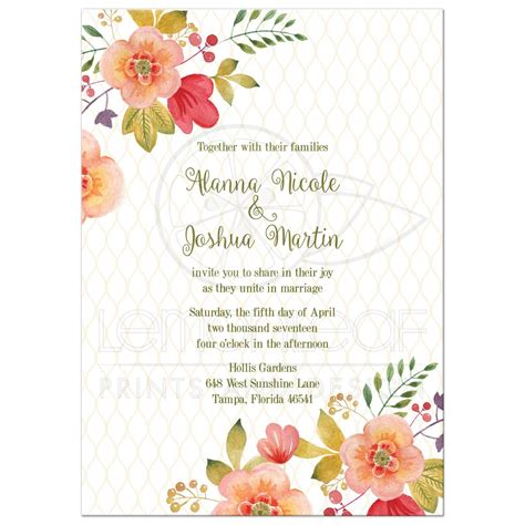 flower design wedding invitation floral wedding invitation olive green and pink
