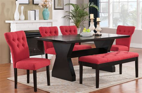 Red Dining Room Sets | effie dining room set w red chairs