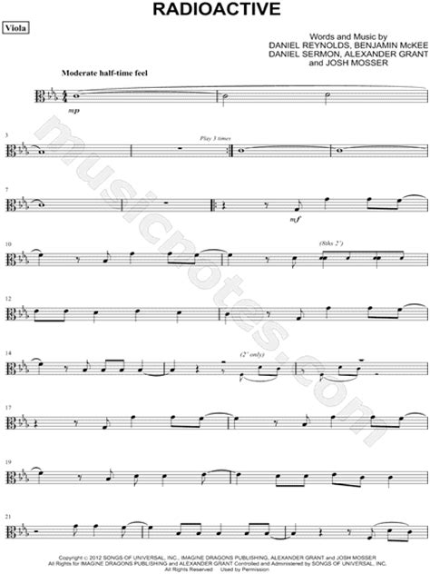 printable radioactive lyrics imagine dragons quot radioactive viola quot sheet music in c