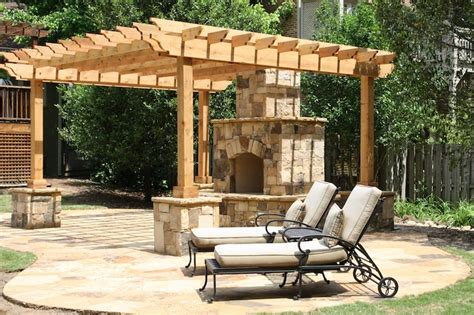 flagstone patio with pergola and flagstone wrapped post