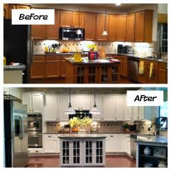 How To Refinish Painted Kitchen Cabinets Oak Kitchen Cabinets Painted Before And After Home Photos Design Inside Refinished Kitchen