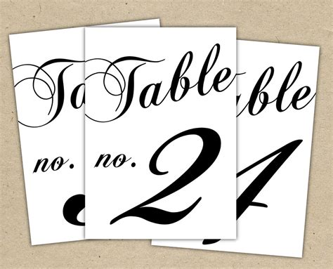 instant download classic table numbers templates by