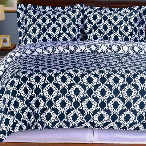navy quilt bedding duvet cover 100 cotton moroccan medallion 3 piece bedding