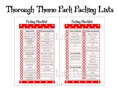 theme item list packing lists thorough theme park packing lists by