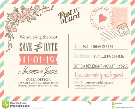 vintage postcard background for wedding invitation stock vector image 41956094