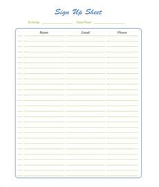 Free Template For Sign Up Sheet by Sign Up Sheets 60 Free Word Excel Pdf Documents