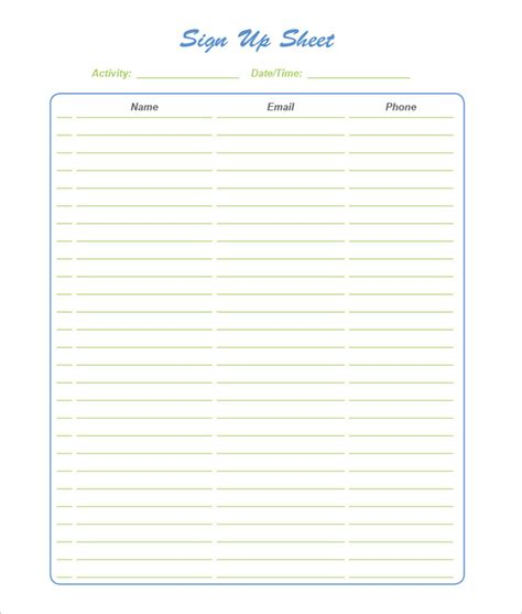 sign up sheet free template search results for editable printable sign up sheet