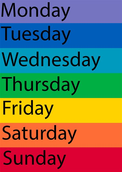 7 best images of printable days of the week chart free