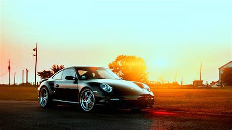 black porsche   sunset hd auto wallpaper