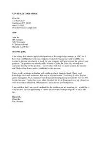 Property Officer Cover Letter by Free Property Manager Cover Letter