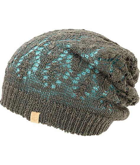 Lace Beanie empyre noble blue charcoal reversible lace beanie