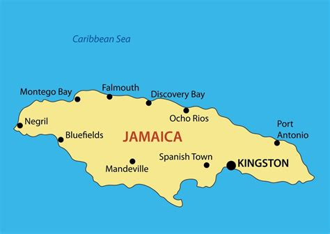 large map  jamaica  major cities jamaica north