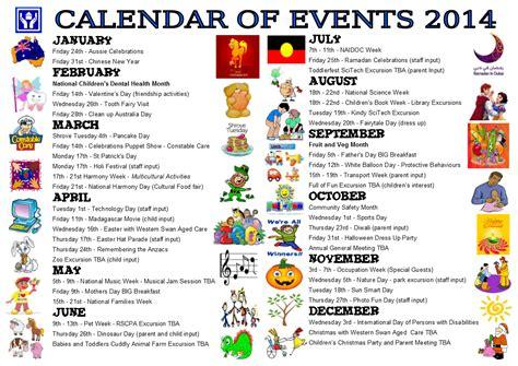 Calendar Of Events Child Care Brockman Community House