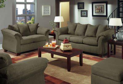 olive microfiber modern sofa loveseat set woptional items