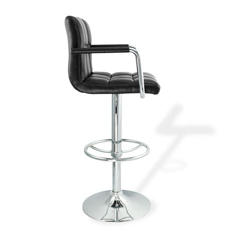 Contemporary Swivel Adjustable Bar Stool With Arm Rests by 4 Swivel Black W Arm Pu Leather Modern Adjustable