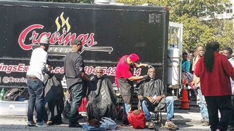haircuts downtown atlanta barbers chefs join to give haircuts meals to homeless