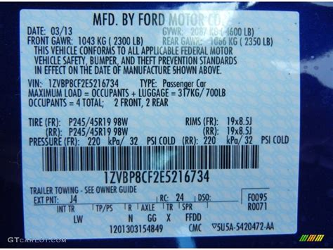 ford impact blue color code